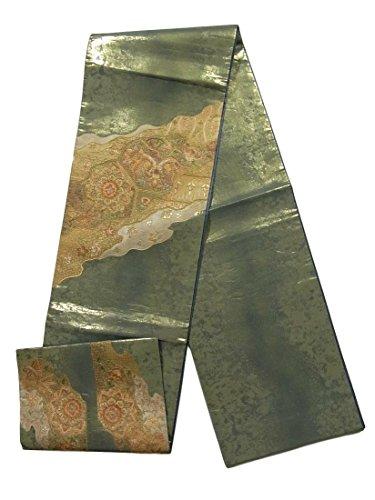 のどズーム追うリサイクル 袋帯 正絹 刺繍 道長取りに唐花文様