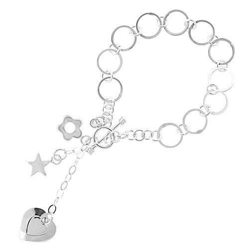 ling Heart, Star & Flower Round Link Toggle Charm Bracelet, 7.25 inches long ()
