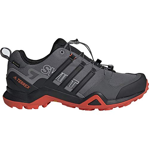 adidas outdoor Terrex Swift R2 GTX Mens Hiking Boot Grey Five/Black/Active Orange, Size 12
