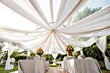 120' Wide (10ft Wide) x 120 Yards Roll -Ivory/Off-White Sheer Voile Chiffon Fabric - Perfect for Draping Panels and Masking for Weddings & Events