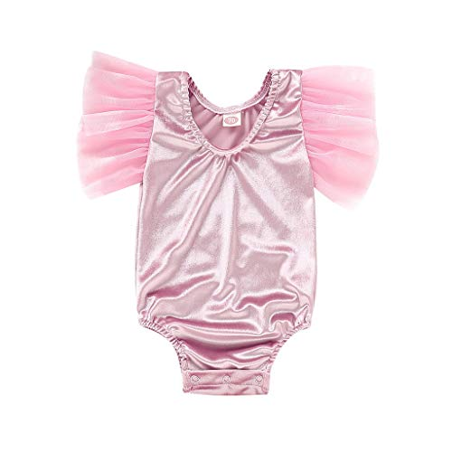 NUWFOR Toddler Infant Baby Girls Patchwork Gauze Solid Romper Bodysuit Clothes (Pink,6-12Months)
