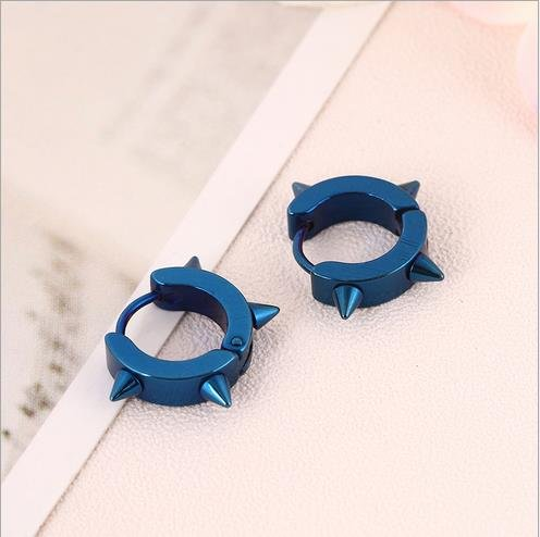 Stainless Steel Hoop Spike Punk Earrings for Men Or Women Jewelry Piercing Huggie earrings
