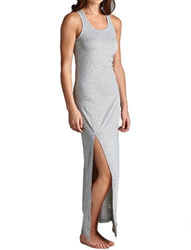 Women's Solid Sleeveless Racerback Tank Maxi Dress With Slit Sides, Small, Heather (Cebra One Light)