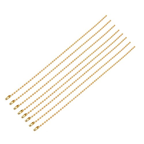 uxcell 8Pcs 2.4mm Diameter Copper Beaded Connector Ball Key Chain Gold Tone 20cm ()