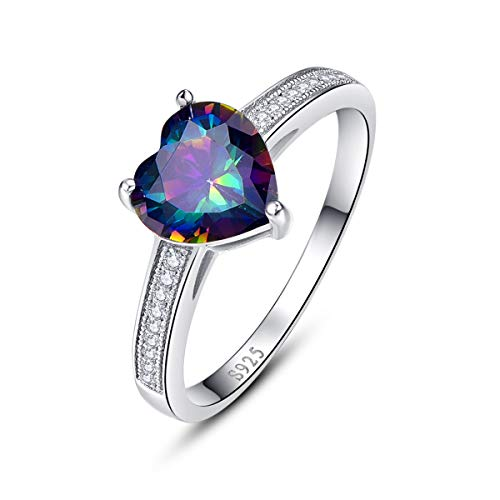 Rainbow Mystic Topaz Heart - BONLAVIE Cubic Zirconia Rings 925 Sterling Silver Colorful Created Rainbow Topaz Solitaire Wedding Band Rings for Women Her Size 9