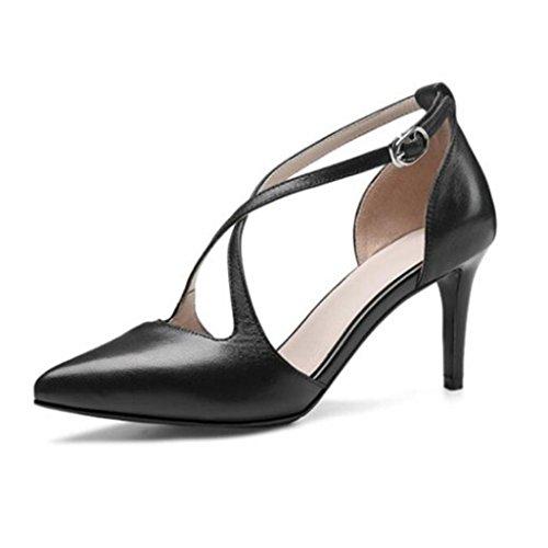 W&LM Sra Tacones altos Lado vacío Propina Tacones altos De acuerdo Zapatos individuales Sandalias Zapatos de boca poco profundos Black