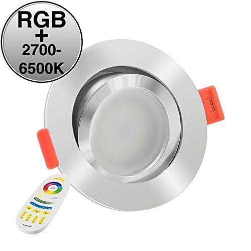 LUXVENUM®   3x All-in-One LED Einbau-Strahler   11W RGB + 2700-6500K stufenlos einstellbar & dimmbar   direkt an 230V wie jeder andere Einbaustrahler auch, kein zusätzlicher Empfänger nötig   Absolute Neuheit   Runde