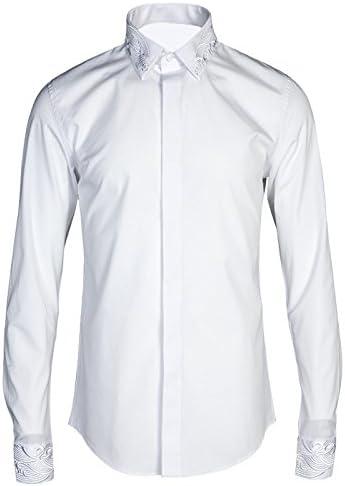 KunZhangNuevo High-End Millones Bordados En Oro Collar De Aguja Manga Thorn, Hombre De Camisas, Camisetas De Mangas Largas, El Hierro Puro De La Marca De Marea Negocio,M (110-125 Jin),Bordado En Blanco: Amazon.es: