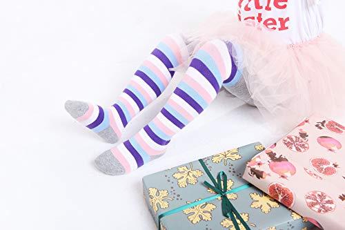 IMOZY Autumn Winter Girls Tights- Stripes Penguin Rainbows Cotton Warm Pantyhose for Newborns Infants Toddler Baby Kids