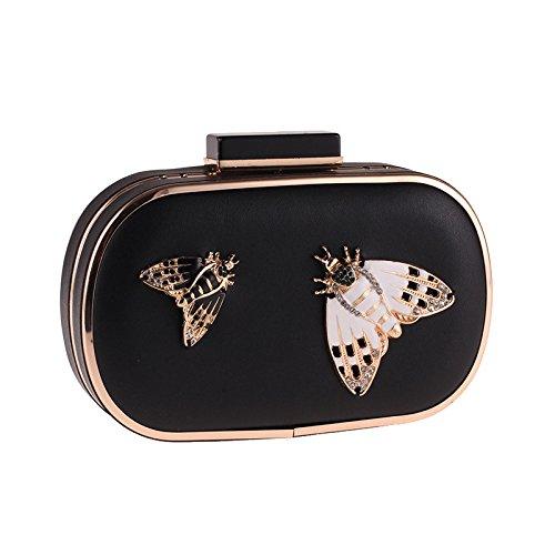 Bag Bag PU Fashion Butterfly Dinner Ladies Temperament Black Leather Crossbody Handbag Bag Evening Clutch Bag Chain Banquet Atvqw5