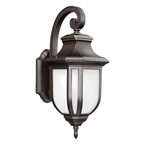 Sea Gull Lighting 8736391S-71 Childress LED Outdoor Wall Lantern with Satin Etched Glass Panels, Antique Bronze ()
