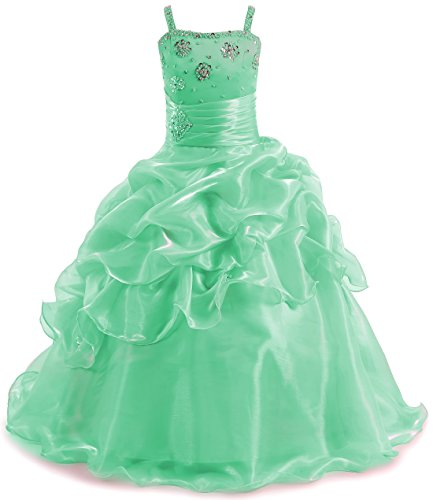 Teen Girls Pageant Dresses Floor Length Puffy Shiny Formal Prom Party Dresses Long Green,11 for $<!--$69.99-->