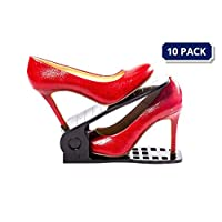 MBOX Shoe Slots Space Saver | Adjustable Shoe Slots Organizer | Shoe Organizer Space Saver | Shoe Stacker | Easy Shoe Organizer | No Assembly Required | 10 Pcs Pack