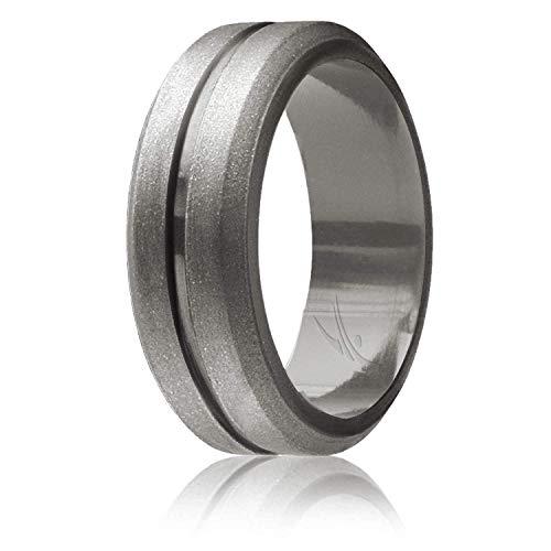 ROQ Silicone Wedding Ring for Men, Single Elegant, Affordable Silicone Rubber Wedding Bands, Brushed Top Beveled Edges -Beveled Matallic Platinum - Size ()