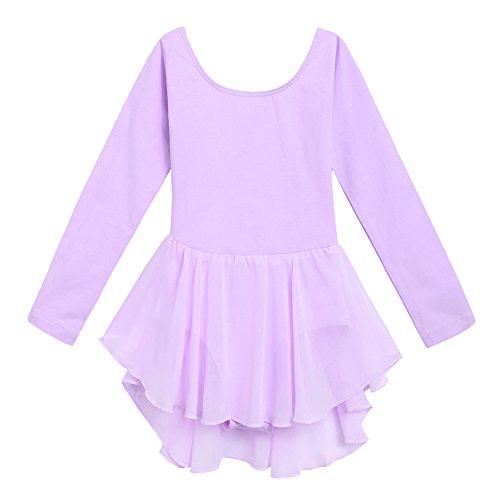 Ballerina Leotard (Arshiner Kids Girls Classic Long Sleeve Leotard Dance Ballet Dress, Lilac, 140)