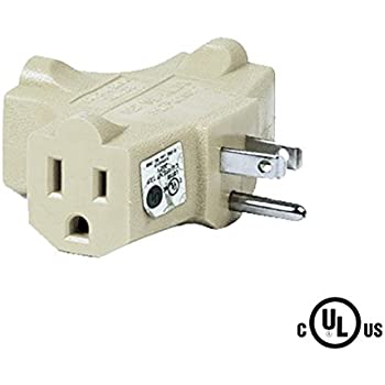 Uninex T-shape 3 Way Outlet Heavy Duty Grounded Wall Plug Tap Adapter Beige