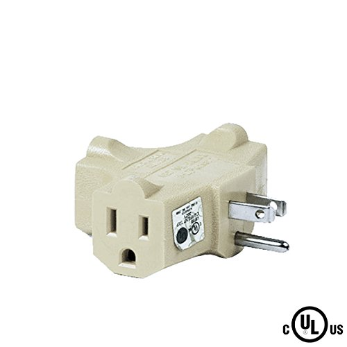 Vinyl Cube Tap - Uninex T-shape 3 Way Outlet Heavy Duty Grounded Wall Plug Tap Adapter Beige