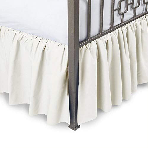 Ruffled Bed Skirt with Split Corners-Ivory,Full BedSkirt,Gathered Style Easy fit up to 8 Inch Drop Platform Ruffle Bed Skirts.