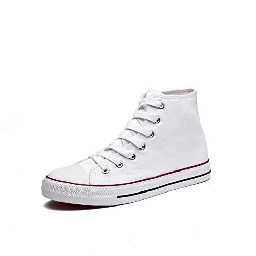 Canvas High Top - Adokoo Women's Canvas Shoes Casual Sneakers High Cut Lace up Fashion for Walking White Size US9