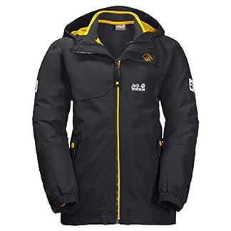 Jack Wolfskin B ICELAND 3IN1 JKT, wasser- und winddichte Outdoor Jacke, Winterjacke für Jungen mit warmer Fleece-Innenjacke, robuste Regenjacke für Jungen mit Reflektoren,phantom,164 5