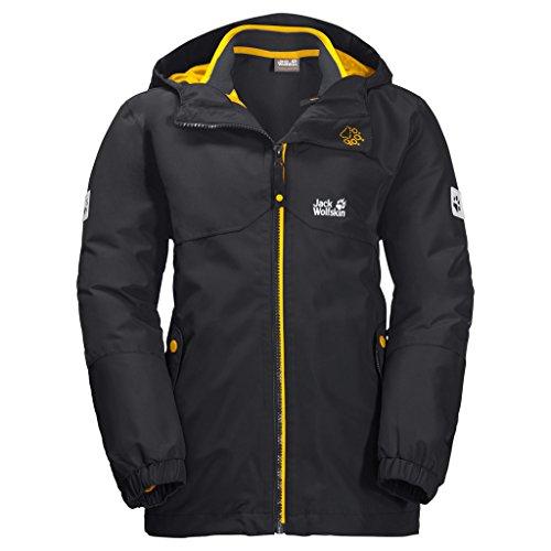 (Jack Wolfskin Boy's B Iceland 3-in-1 Waterproof Insulated System-Zip Jacket, Phantom, Size104(3-4))