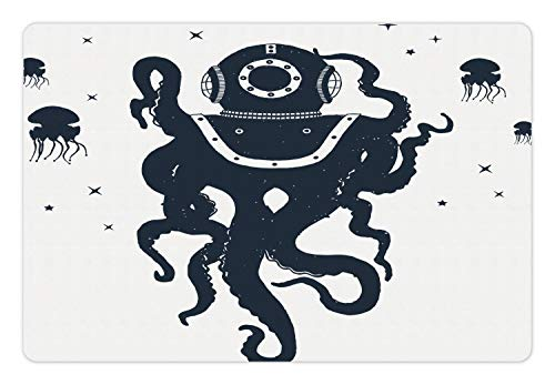 Ambesonne Vintage Nautical Tattoo Pet Mat for Food and Water, Octopus Jellyfish in Astronaut Costume Plain Background, Rectangle Non-Slip Rubber Mat for Dogs and Cats, Dark Violet Blue - Costume Astronaut Entry