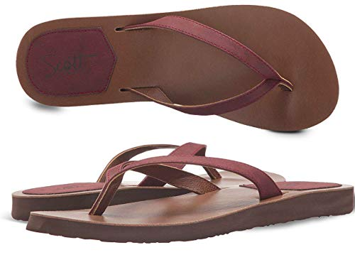 (Scott Hawaii Women's Size 6 Flat Sandal | Coachella Inspired Mohala Flip-Flop | Premium Wine PU Leather Straps | Embroidered Heel Patch)