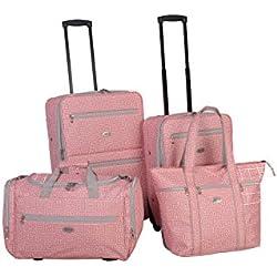American Flyer Greek Key 4-Piece Rolling Luggage Set Coral