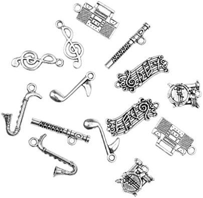ヴィンテージ 楽器のペンダント DIY ジュエリー作り クラフト 約14ピース 合金