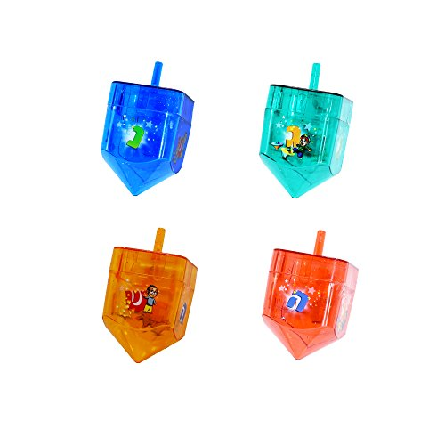 Izzy 'n' Dizzy 4 Pack Fillable Dreidels - Great for Chocolate Coins and Candy - Assorted Designs - Medium -
