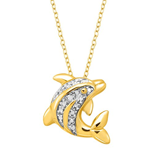 - Dolphin Pendant Necklace with Diamond in 14K Gold-Plated Sterling Silver