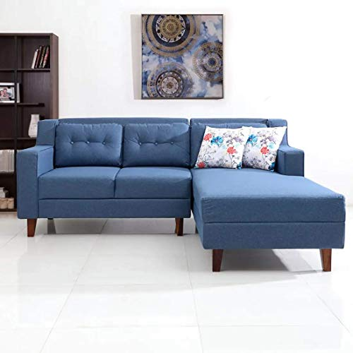 Casaliving Fabric Lifestyle L Shape 4 Seater Right Sofa  Blue