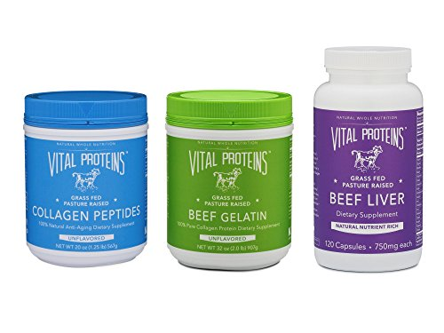 Beef Liver Powder - Vital Proteins Supplement Bundle (3 Items) - Grass-Fed Collagen Peptides + Grass-Fed Beef Gelatin + Grass-Fed Beef Liver