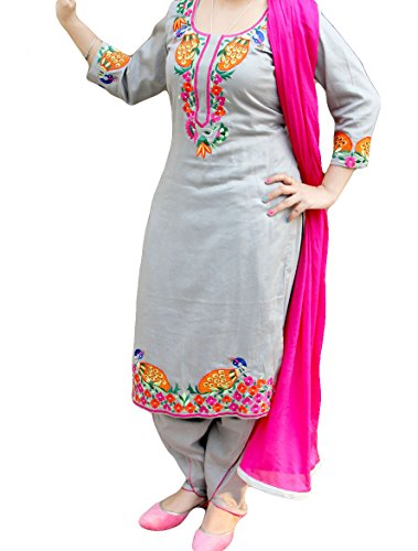 Resplendent Gray Embroidered Punjabi Suit Amazon In Clothing