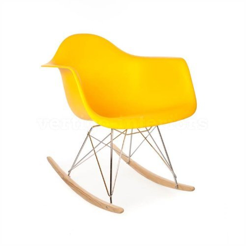 ModHaus Mid Century Modern Eames Style RAR Yellow Rocking Rocker Chair Nursery Living Room For Sale