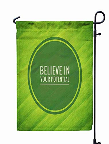 Shorping Home Garden Flag, 12x18Inch Inspirational on Green Leaf Texture Background Believe in Your for Holiday and Seasonal Double-Sided Printing Yards -