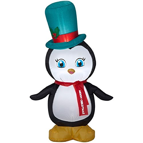 Christmas Inflatable LED Penguin with Top Hat & Merry Christmas Scarf Airblown Decoration By Gemmy (1)