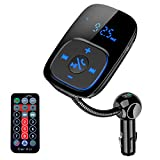 Bluetooth FM Transmitter for Car,Lamyik Car Bluetooth Radio Transmitter Adapter with Hand-Free Calling,Music Player Support TF Card and USB Disk,Dual USB Ports Chargerand Remote Control