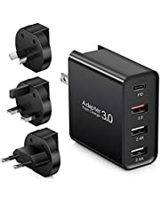 USB C Charger, Quick Charge 3.0 Wall Charger, Abetcabe 4-Port Foldable Power Adapter with 18W Power Delivery PD 3.0 Type C Adapter Compatible iPhone 12 /12 mini /11 Pro Max/X, iPad Pro, Galaxy Note 10/ 9,Google Pixel 3/3X