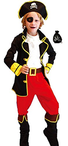 Sea Captain Pirate Costumes (Cohaco Boys Sea Captain Pirate Role Play Costume (S (Height 3'1.4
