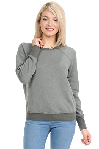 YURO-K Women's Long Sleeve Crew Neck Vintage Raglan Sweatshirt Pullover (Medium, Eden)