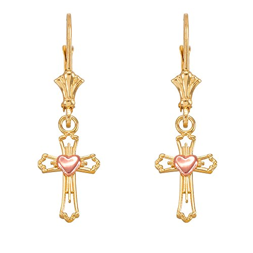 Heart Cross Dangle Earrings in 14k Two-Tone Yellow and Rose Gold