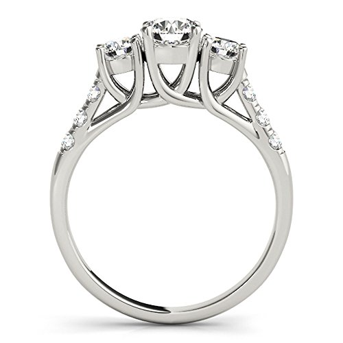 JewelMore 14k White Gold Three-Stone Engagement Ring (0.50 Carat, I-J Color, I2-I3 Clarity) (7) by JewelMore (Image #2)