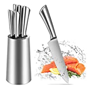 Knife Set, Professional 5 Pieces Kitchen Knife Set One Piece with Stainless Steel Stand, Cutlery Knife Block Set, Chef Knife Set Gift (Upgrade)