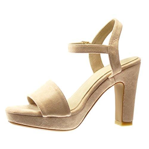 Angkorly - Chaussure Mode Sandale Escarpin plateforme sexy femme lanière boucle Talon haut bloc 11 CM - Rose