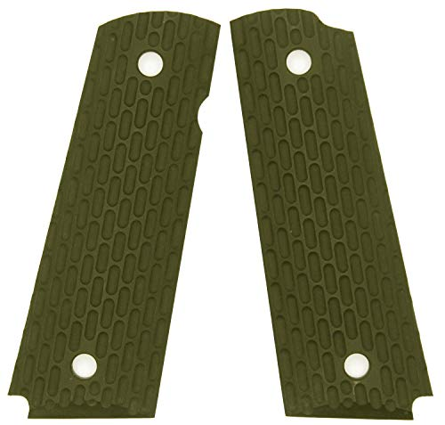 DURAGRIPS - Full Size 1911 Tactical Texture Grips - Peanut (OD Green_Beveled)