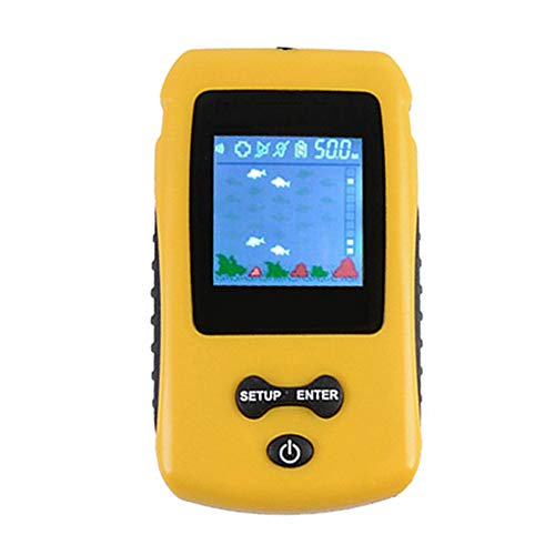SELLBINDING Fish Finder,Portable Depth Temperature Fish Fishfinder with Wired Sonar Sensor Transducer and LCD Display