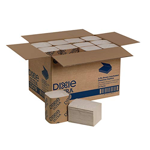 Dixie Ultra Interfold 2-Ply Napkin Dispenser Refill (Previously EasyNap) by GP PRO (Georgia-Pacific), Brown, 32019, 250 Napkins Per Pack, 24 Packs Per Case
