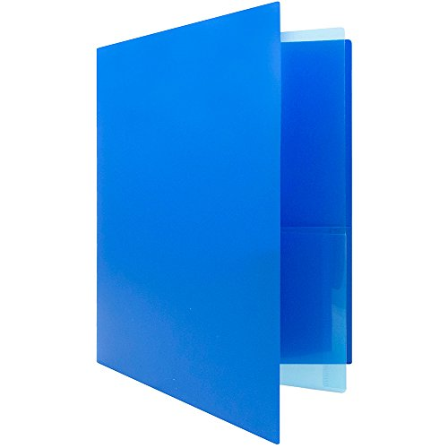 JAM PAPER Heavy Duty Plastic Multi Pocket Folders - 4 Pocket Organizer - Blue - 2/Pack