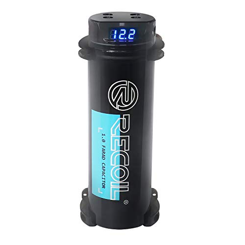 Recoil REC1D True 1.0 Farad 20V Car Audio Energy Storage Reinforcement Capacitor with Digital Read-Out and Built-in Distribution Block